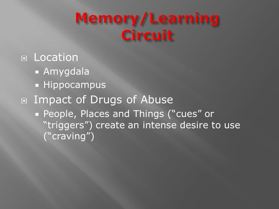  Location  Amygdala  Hippocampus  Impact of Drugs of Abuse  People, Places and Things ( cues or triggers ) create an intense desire to use ( craving )