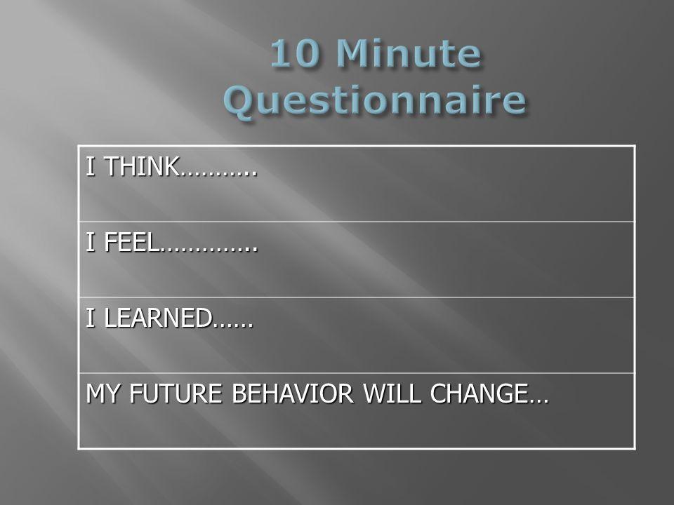 I THINK……….. I FEEL………….. I LEARNED…… MY FUTURE BEHAVIOR WILL CHANGE…