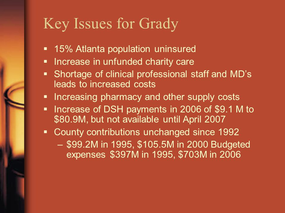 Key Issues for Grady  15% Atlanta population uninsured  Increase in unfunded charity care  Shortage of clinical professional staff and MD's leads to increased costs  Increasing pharmacy and other supply costs  Increase of DSH payments in 2006 of $9.1 M to $80.9M, but not available until April 2007  County contributions unchanged since 1992 –$99.2M in 1995, $105.5M in 2000 Budgeted expenses $397M in 1995, $703M in 2006