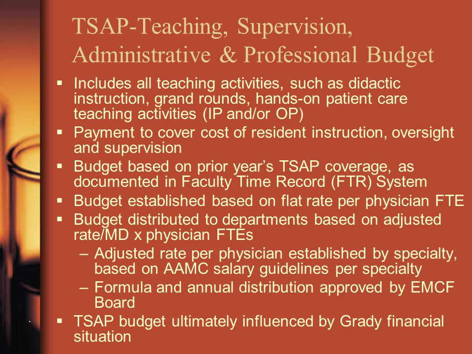 TSAP-Teaching, Supervision, Administrative & Professional Budget.