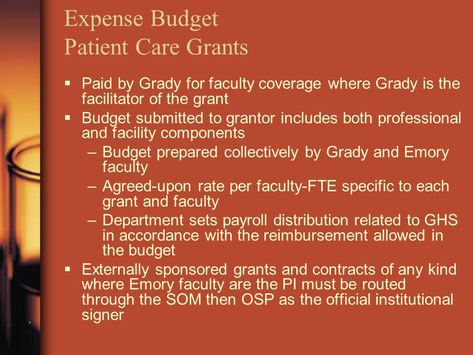 Expense Budget Patient Care Grants.