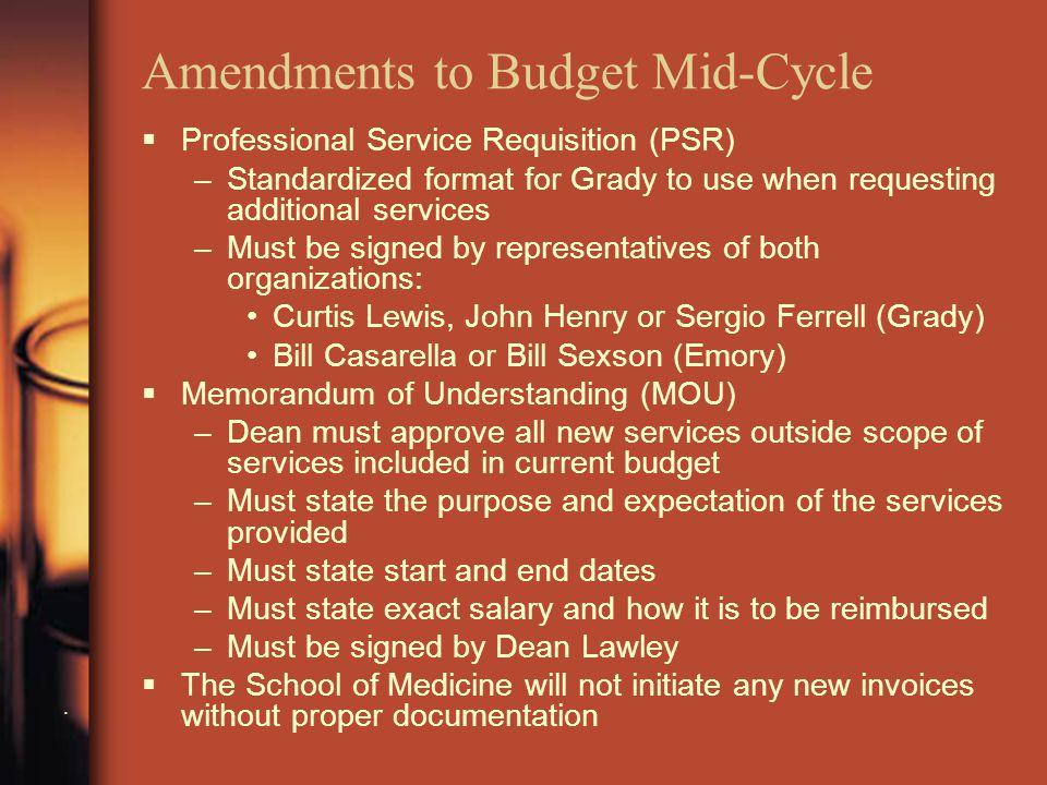 Amendments to Budget Mid-Cycle.