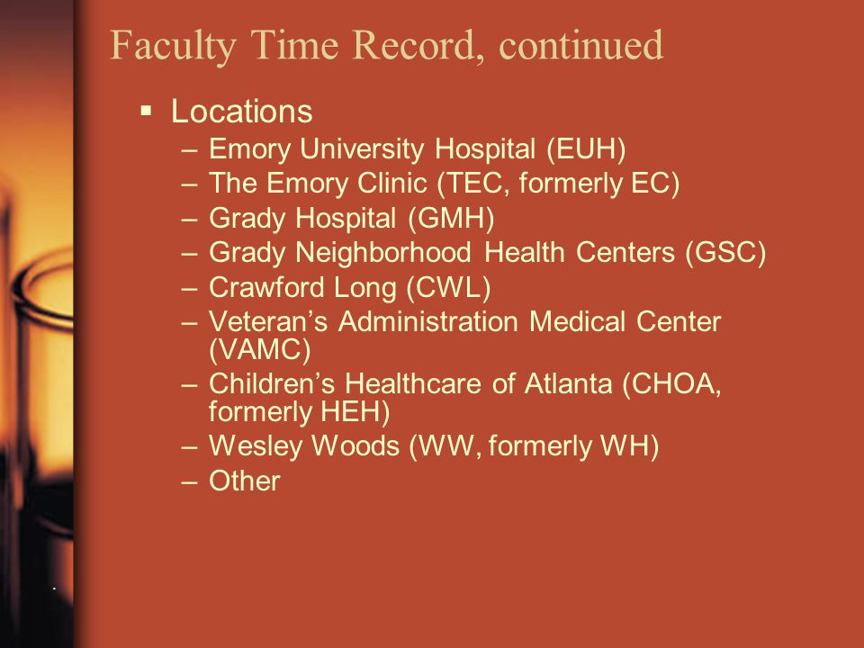 Faculty Time Record, continued.