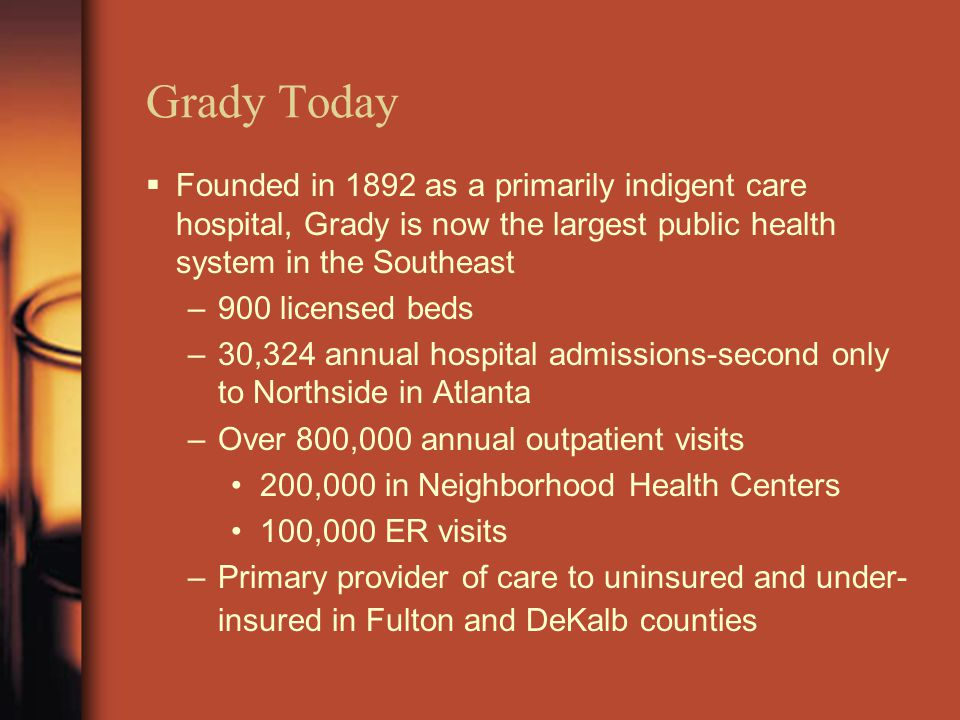 Grady Today  Founded in 1892 as a primarily indigent care hospital, Grady is now the largest public health system in the Southeast –900 licensed beds –30,324 annual hospital admissions-second only to Northside in Atlanta –Over 800,000 annual outpatient visits 200,000 in Neighborhood Health Centers 100,000 ER visits –Primary provider of care to uninsured and under- insured in Fulton and DeKalb counties