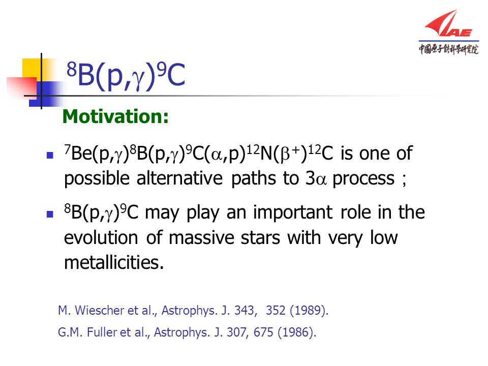 8 B(p,  ) 9 C 7 Be(p,  ) 8 B(p,  ) 9 C( ,p) 12 N(  + ) 12 C is one of possible alternative paths to 3  process ; 8 B(p,  ) 9 C may play an important role in the evolution of massive stars with very low metallicities.