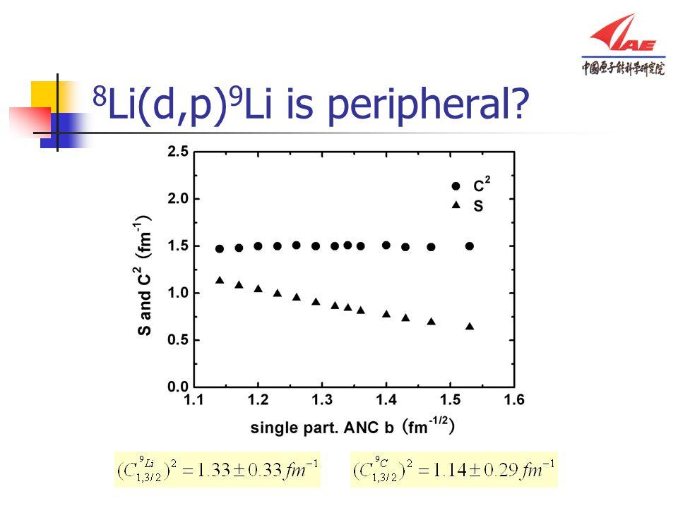8 Li(d,p) 9 Li is peripheral?