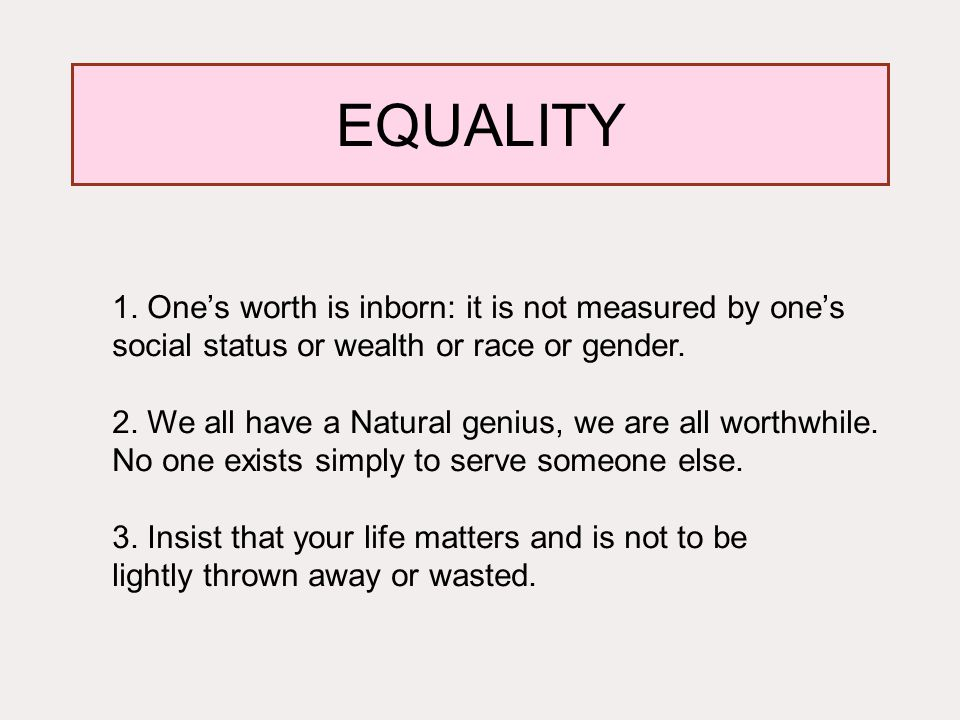 EQUALITY. 1.
