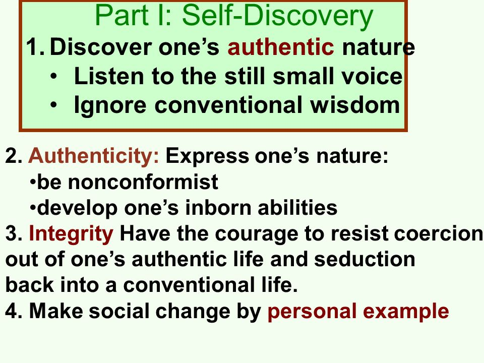 1.Discover one's authentic nature Listen to the still small voice Ignore conventional wisdom Part I: Self-Discovery 2.