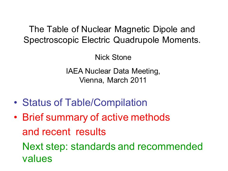 The Table of Nuclear Magnetic Dipole and Spectroscopic Electric Quadrupole Moments. Status of Table/Compilation Brief summary of active methods and re