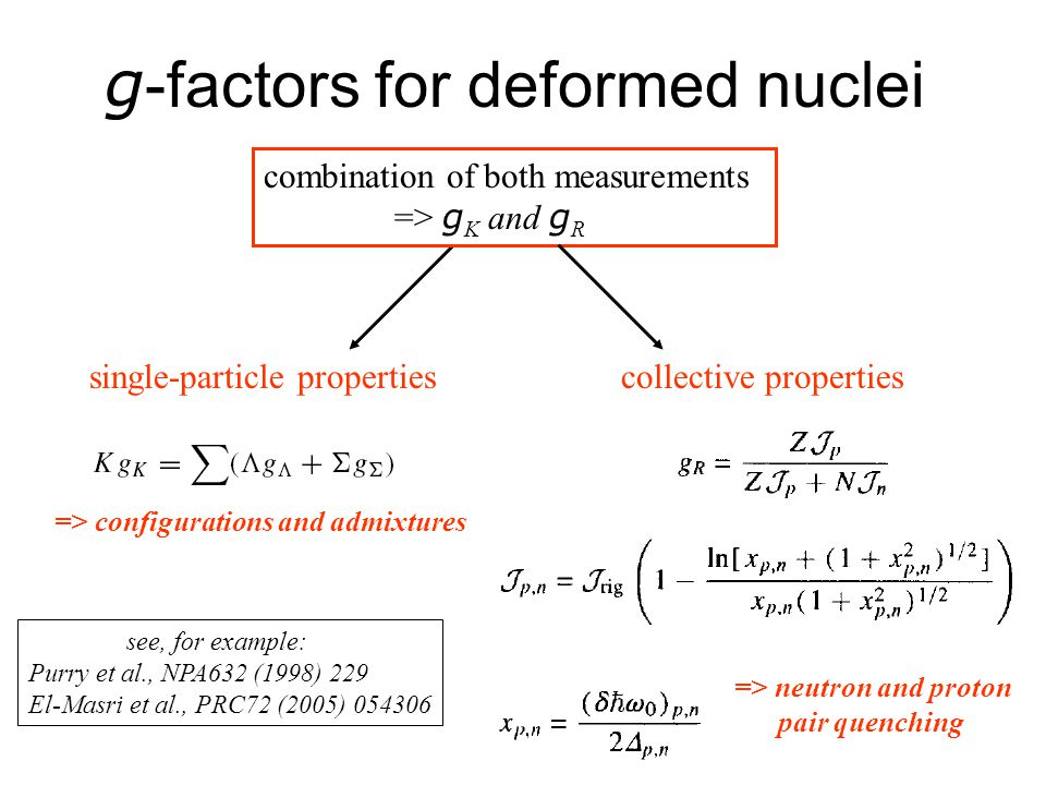 g -factors for deformed nuclei combination of both measurements => g K and g R single-particle propertiescollective properties see, for example: Purry