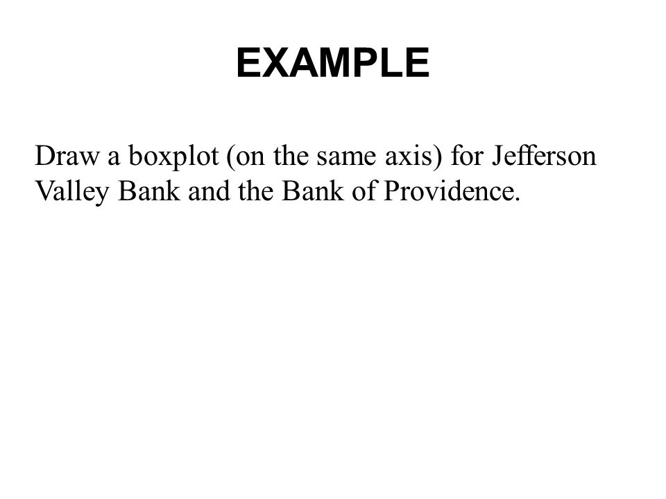 EXAMPLE Draw a boxplot (on the same axis) for Jefferson Valley Bank and the Bank of Providence.