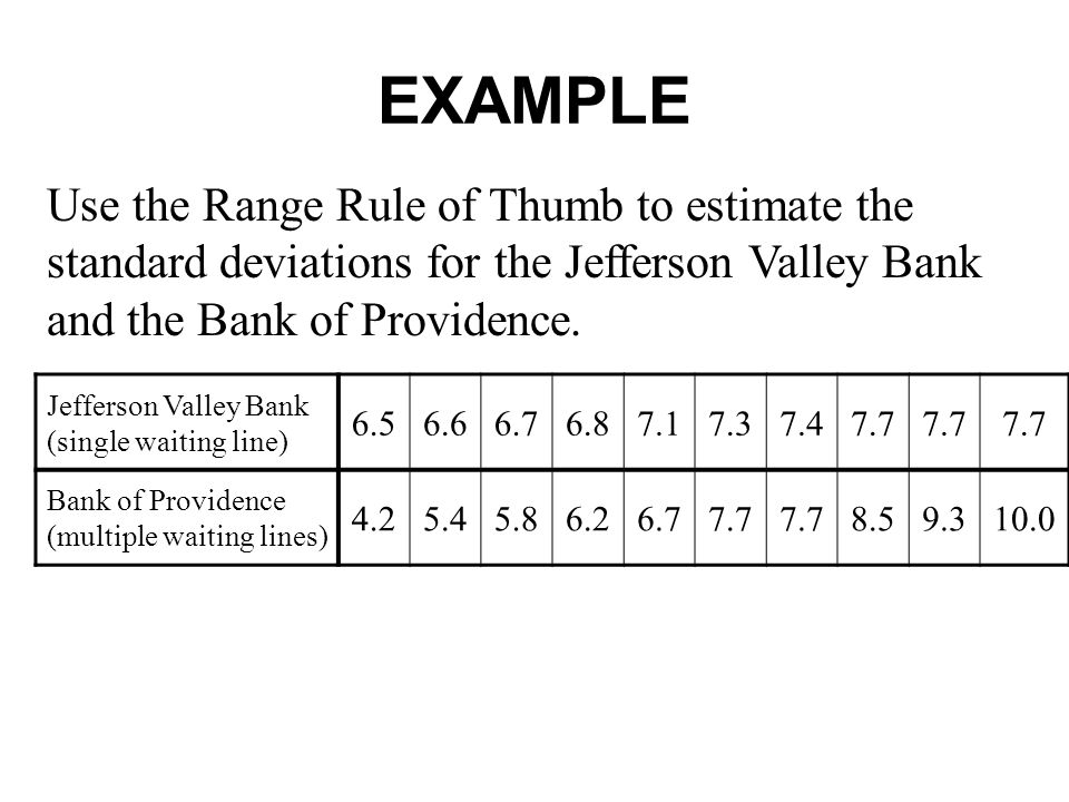 EXAMPLE Use the Range Rule of Thumb to estimate the standard deviations for the Jefferson Valley Bank and the Bank of Providence. Jefferson Valley Ban