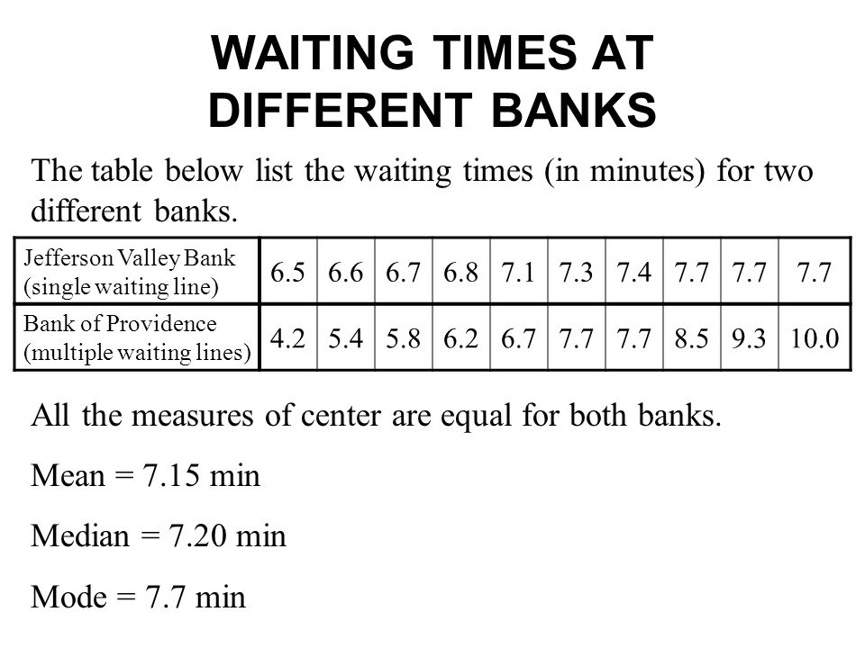 WAITING TIMES AT DIFFERENT BANKS Jefferson Valley Bank (single waiting line) 6.56.66.76.87.17.37.47.7 Bank of Providence (multiple waiting lines) 4.25