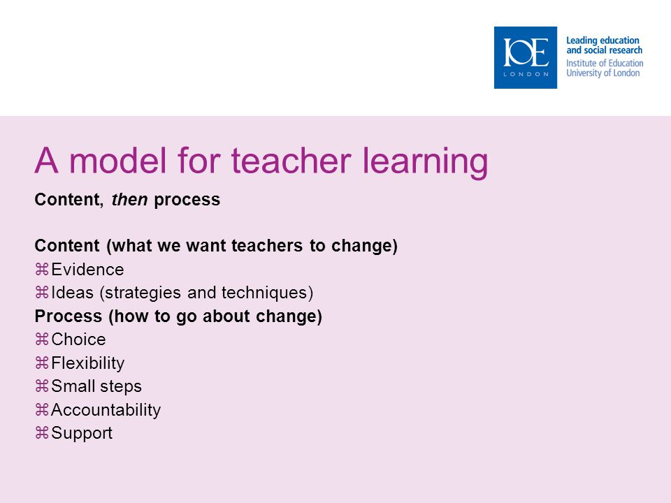 A model for teacher learning Content, then process Content (what we want teachers to change)  Evidence  Ideas (strategies and techniques) Process (h