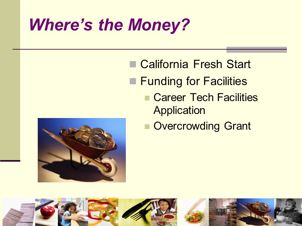 Where's the Money? California Fresh Start Funding for Facilities Career Tech Facilities Application Overcrowding Grant