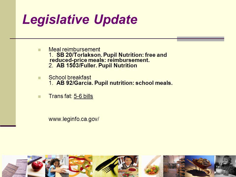 Meal reimbursement 1. SB 20/Torlakson. Pupil Nutrition: free and reduced-price meals: reimbursement. 2. AB 1503/Fuller. Pupil Nutrition School breakfa