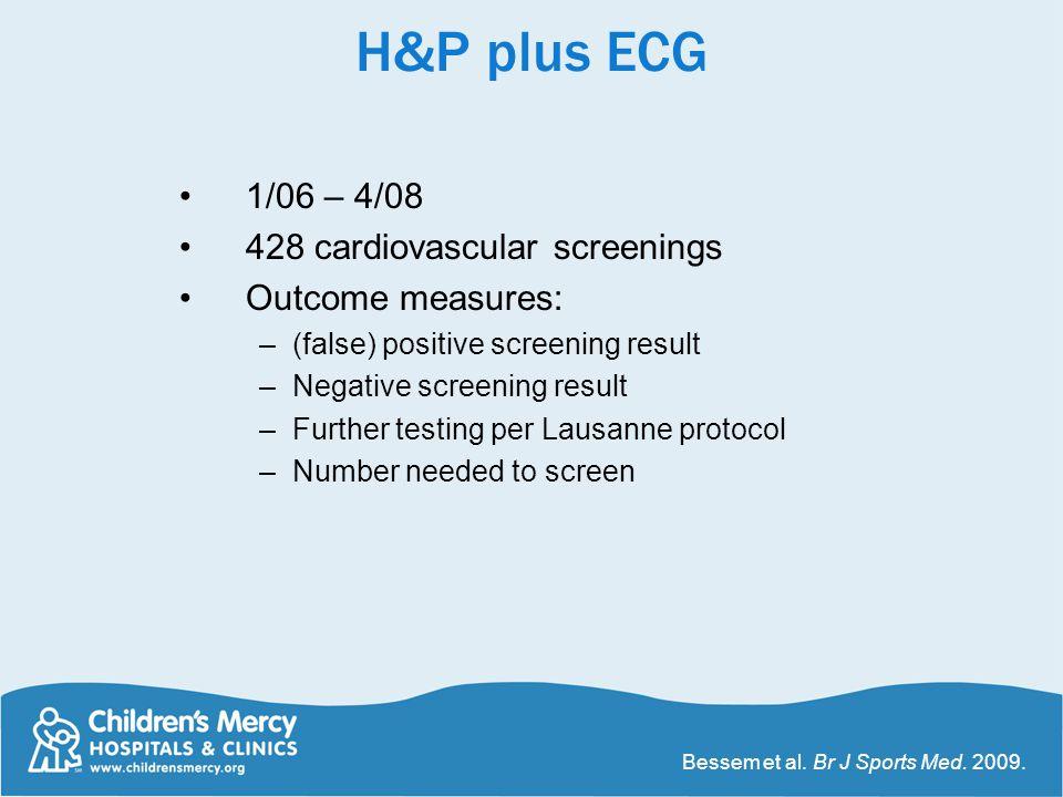 H&P plus ECG 1/06 – 4/08 428 cardiovascular screenings Outcome measures: –(false) positive screening result –Negative screening result –Further testin
