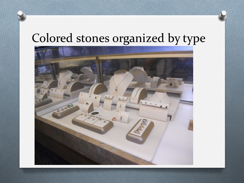 Colored stones organized by type