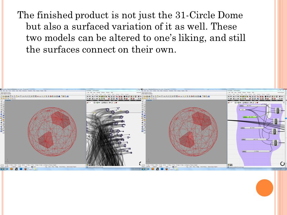 The finished product is not just the 31-Circle Dome but also a surfaced variation of it as well.