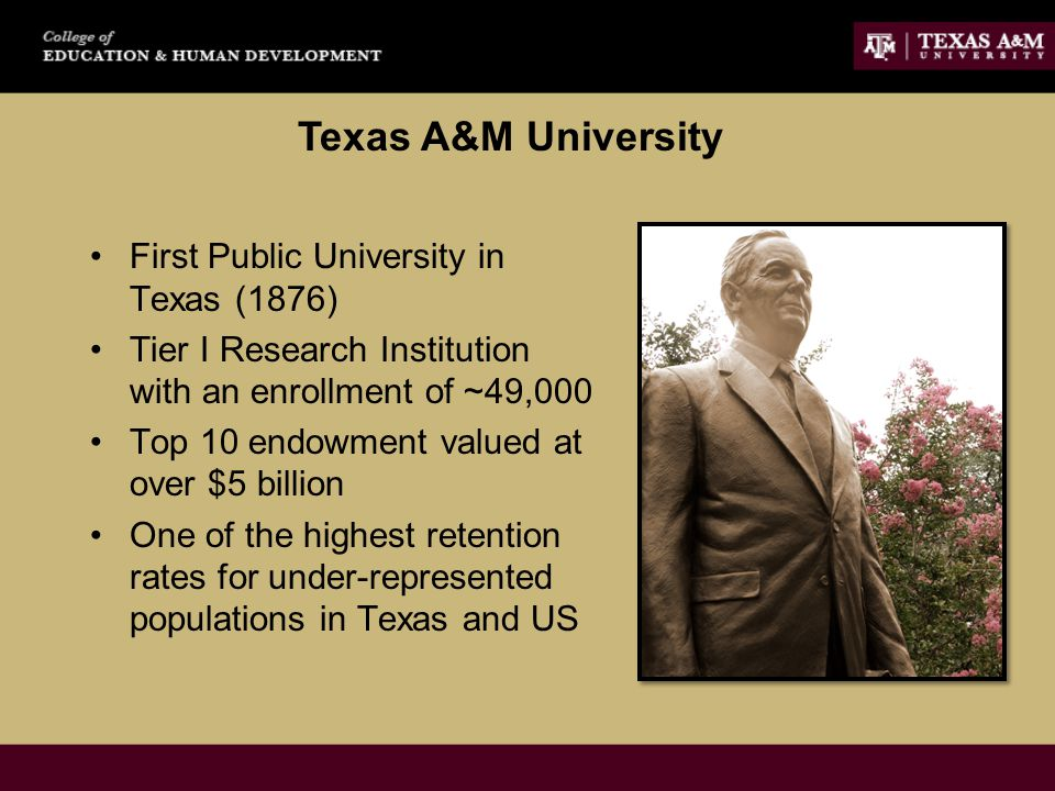 Texas A&M University First Public University in Texas (1876) Tier I Research Institution with an enrollment of ~49,000 Top 10 endowment valued at over $5 billion One of the highest retention rates for under-represented populations in Texas and US