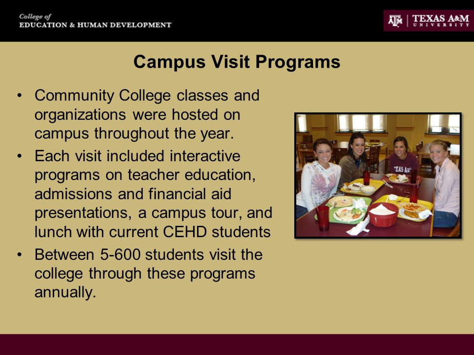 Campus Visit Programs Community College classes and organizations were hosted on campus throughout the year.