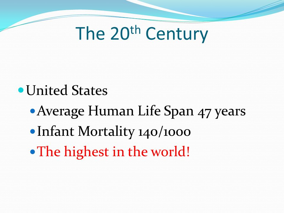 The 20 th Century United States Average Human Life Span 47 years Infant Mortality 140/1000 The highest in the world!