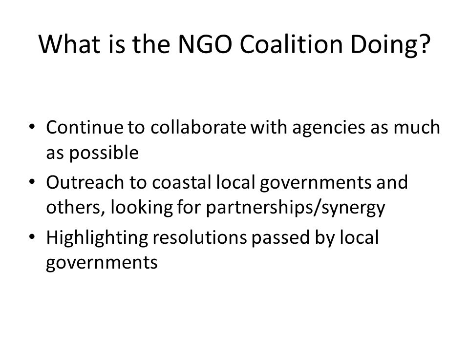 What is the NGO Coalition Doing.
