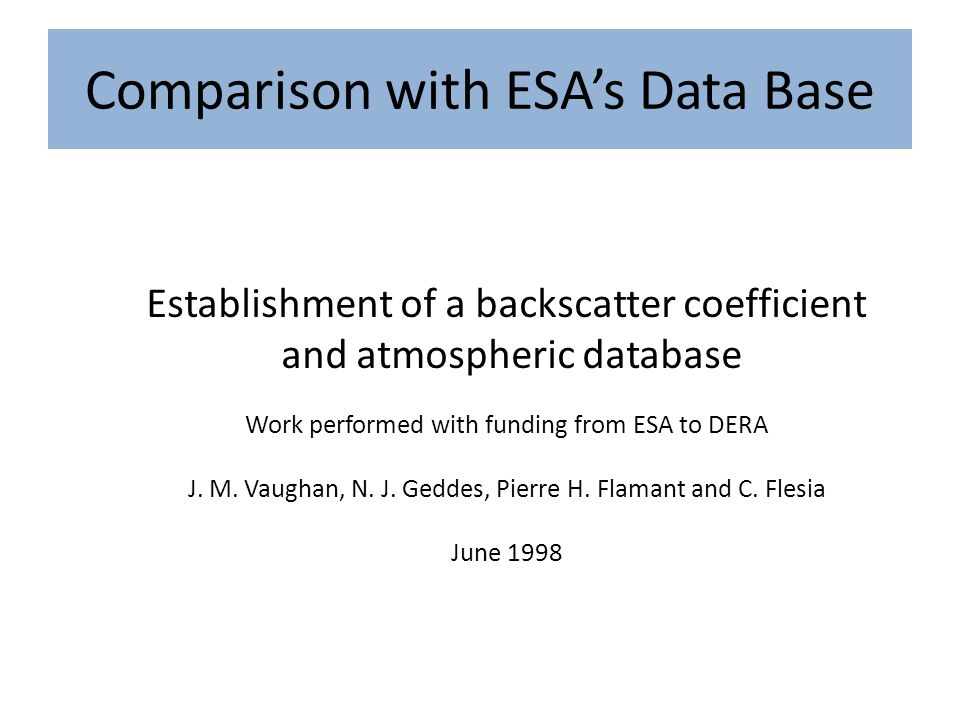 Comparison with ESA's Data Base Establishment of a backscatter coefficient and atmospheric database Work performed with funding from ESA to DERA J.