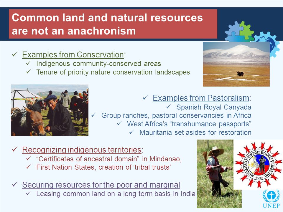 Common land and natural resources are not an anachronism Examples from Conservation: Indigenous community-conserved areas Tenure of priority nature conservation landscapes Examples from Pastoralism: Spanish Royal Canyada Group ranches, pastoral conservancies in Africa West Africa's transhumance passports Mauritania set asides for restoration Recognizing indigenous territories: Certificates of ancestral domain in Mindanao, First Nation States, creation of 'tribal trusts' Securing resources for the poor and marginal Leasing common land on a long term basis in India