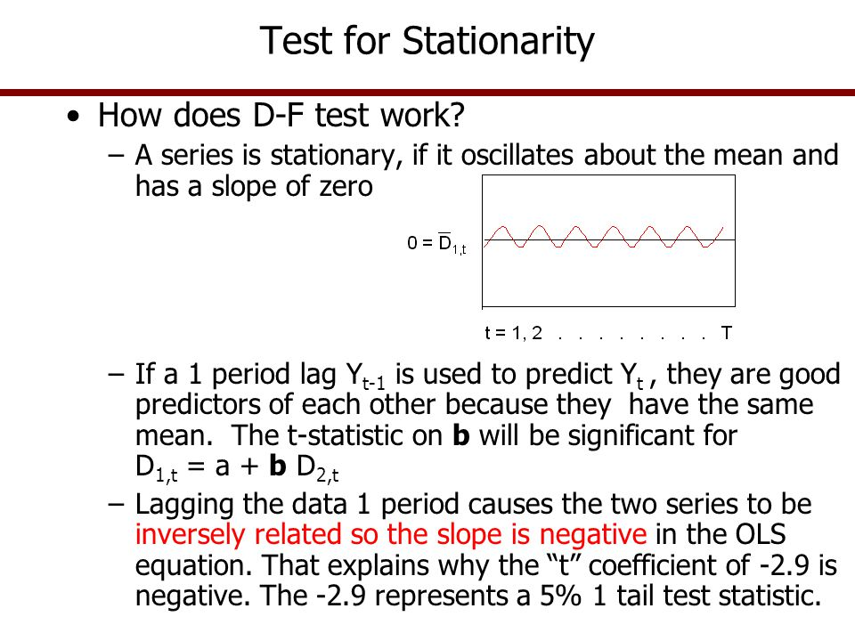 Test for Stationarity How does D-F test work? –A series is stationary, if it oscillates about the mean and has a slope of zero –If a 1 period lag Y t-