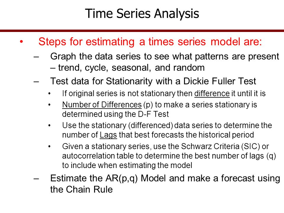 Time Series Analysis Steps for estimating a times series model are: –Graph the data series to see what patterns are present – trend, cycle, seasonal,