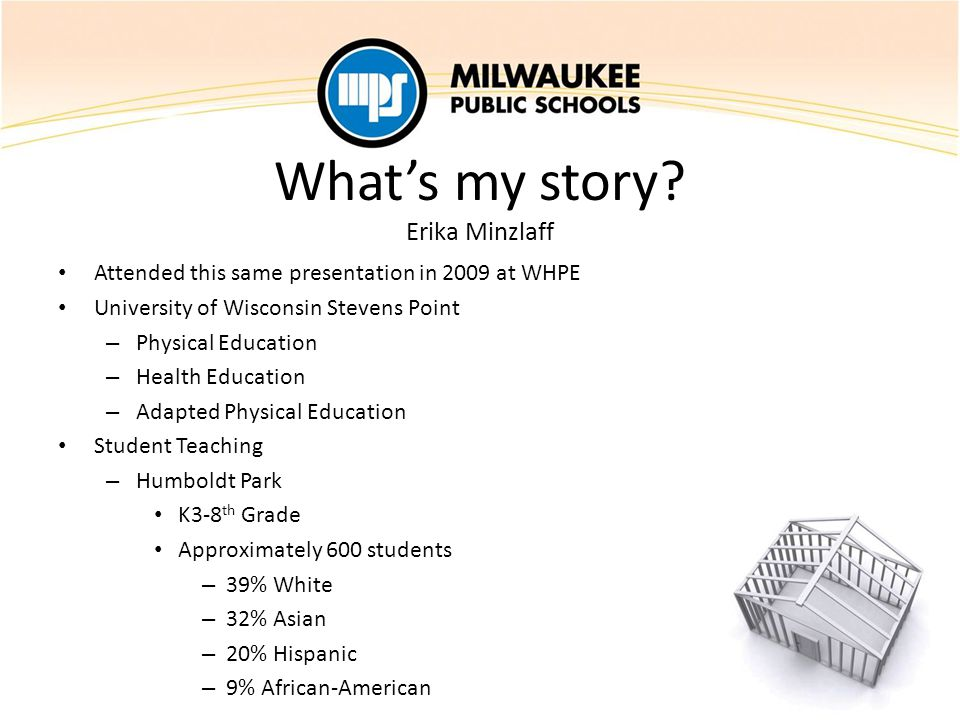What's my story? Erika Minzlaff Attended this same presentation in 2009 at WHPE University of Wisconsin Stevens Point – Physical Education – Health Ed
