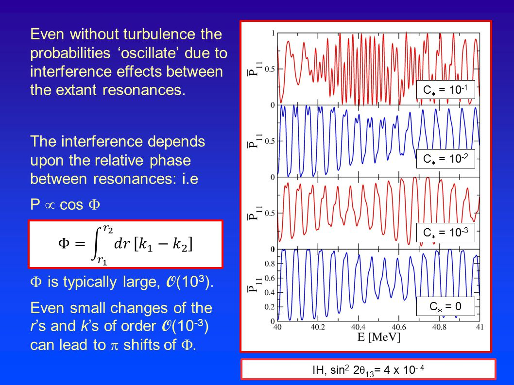 Even without turbulence the probabilities 'oscillate' due to interference effects between the extant resonances. The interference depends upon the rel