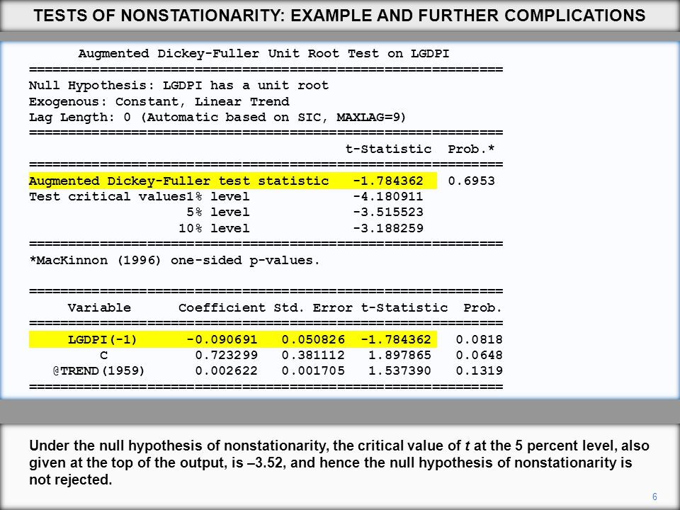 6 Under the null hypothesis of nonstationarity, the critical value of t at the 5 percent level, also given at the top of the output, is –3.52, and hence the null hypothesis of nonstationarity is not rejected.