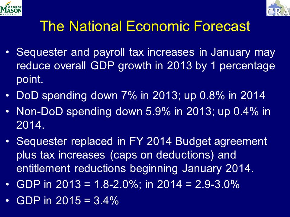 The National Economic Forecast Sequester and payroll tax increases in January may reduce overall GDP growth in 2013 by 1 percentage point.