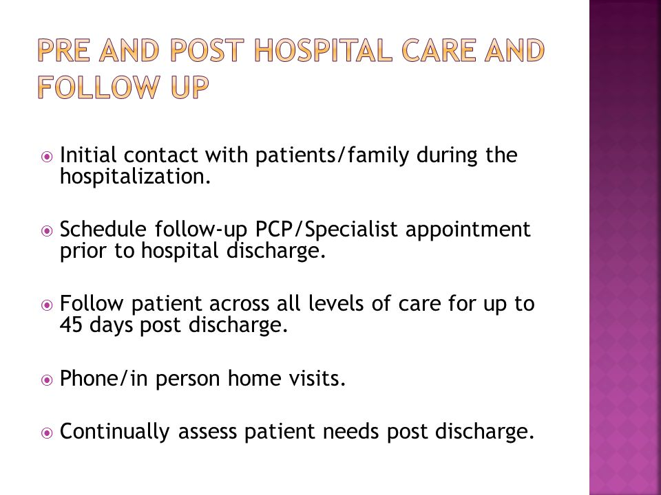  Initial contact with patients/family during the hospitalization.