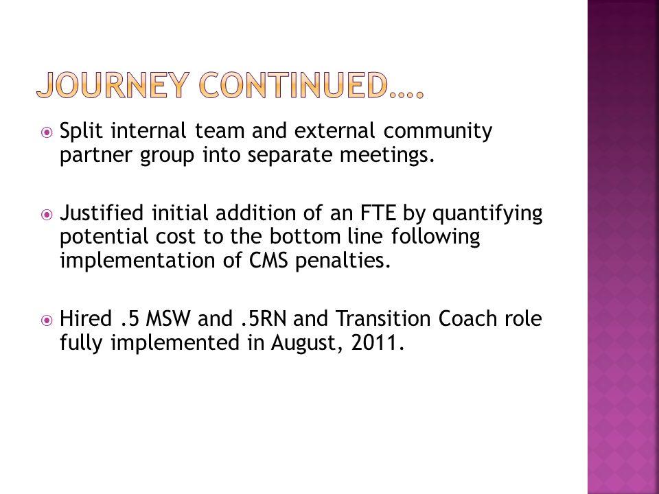  Split internal team and external community partner group into separate meetings.
