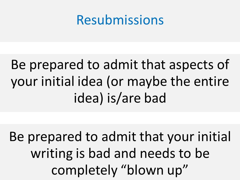 Be prepared to admit that aspects of your initial idea (or maybe the entire idea) is/are bad Be prepared to admit that your initial writing is bad and needs to be completely blown up Resubmissions