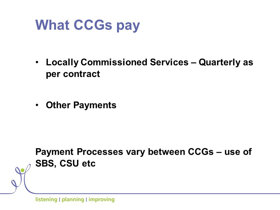 What CCGs pay Locally Commissioned Services – Quarterly as per contract Other Payments Payment Processes vary between CCGs – use of SBS, CSU etc
