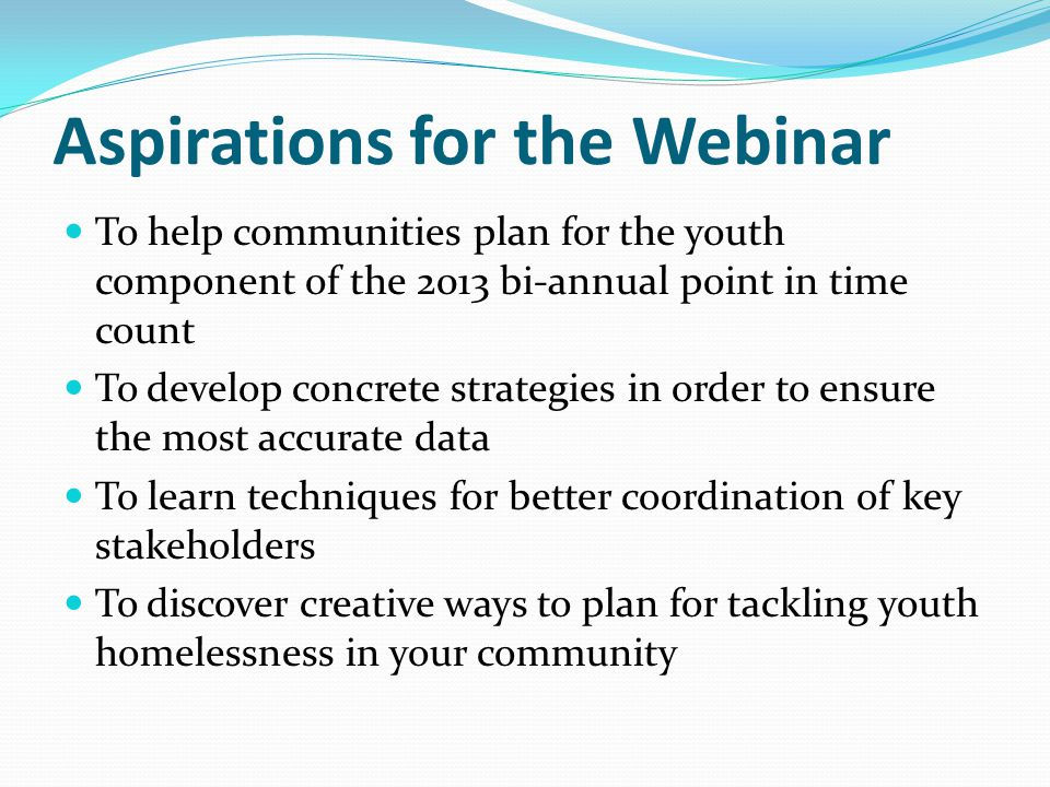 Aspirations for the Webinar To help communities plan for the youth component of the 2013 bi-annual point in time count To develop concrete strategies in order to ensure the most accurate data To learn techniques for better coordination of key stakeholders To discover creative ways to plan for tackling youth homelessness in your community