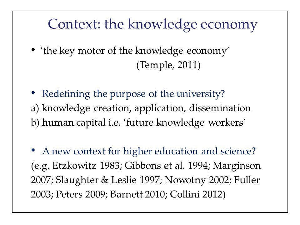 Context: the knowledge economy 'the key motor of the knowledge economy' (Temple, 2011) Redefining the purpose of the university? a) knowledge creation