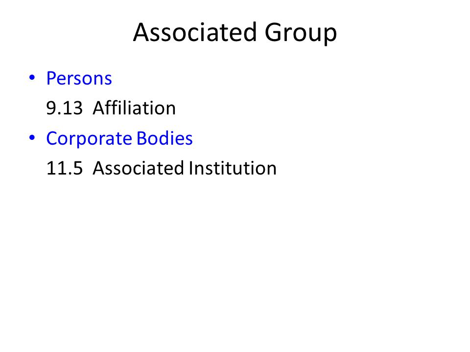 Associated Group Persons 9.13 Affiliation Corporate Bodies 11.5 Associated Institution
