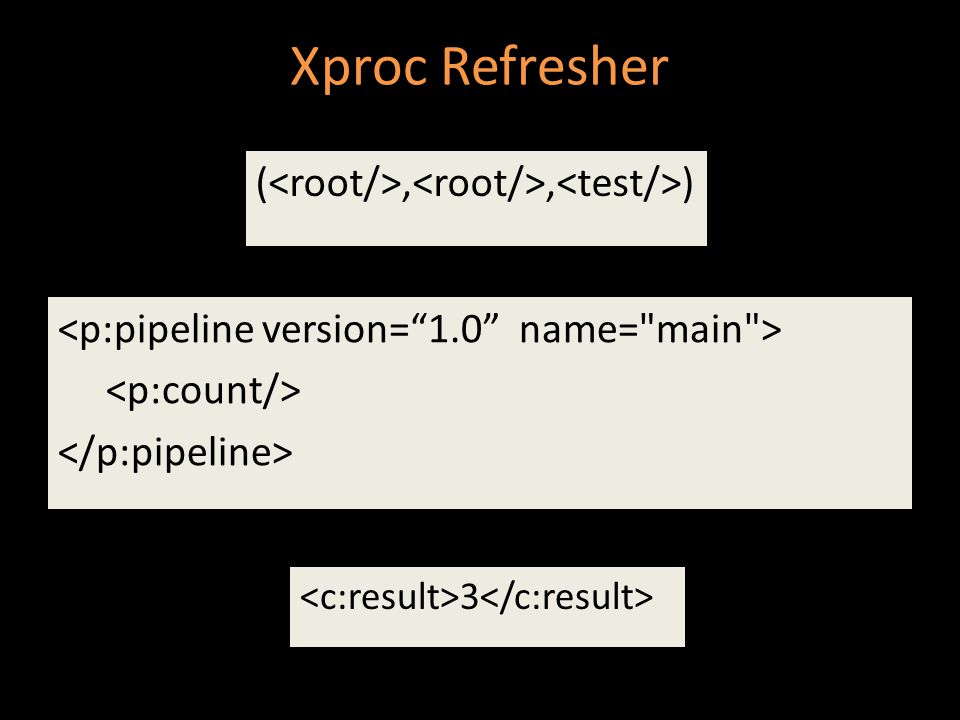 Xproc Refresher (,, ) 3