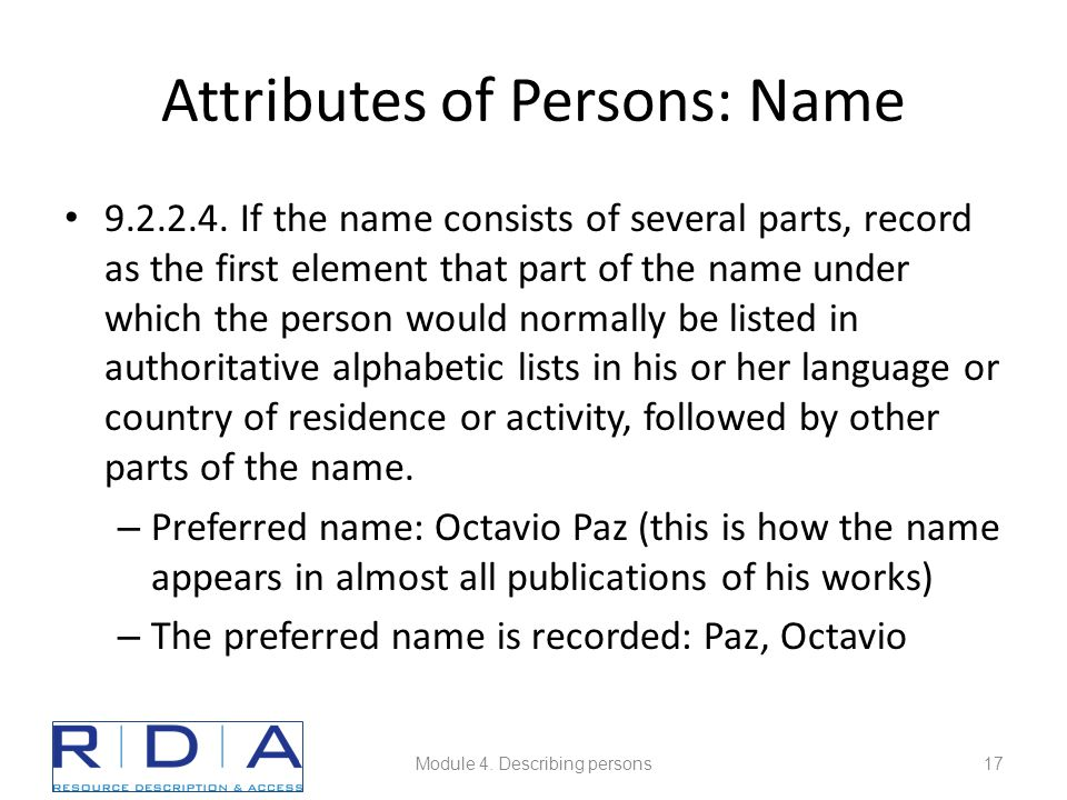 Attributes of Persons: Name 9.2.2.4.