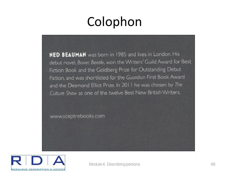 Colophon Module 4. Describing persons66