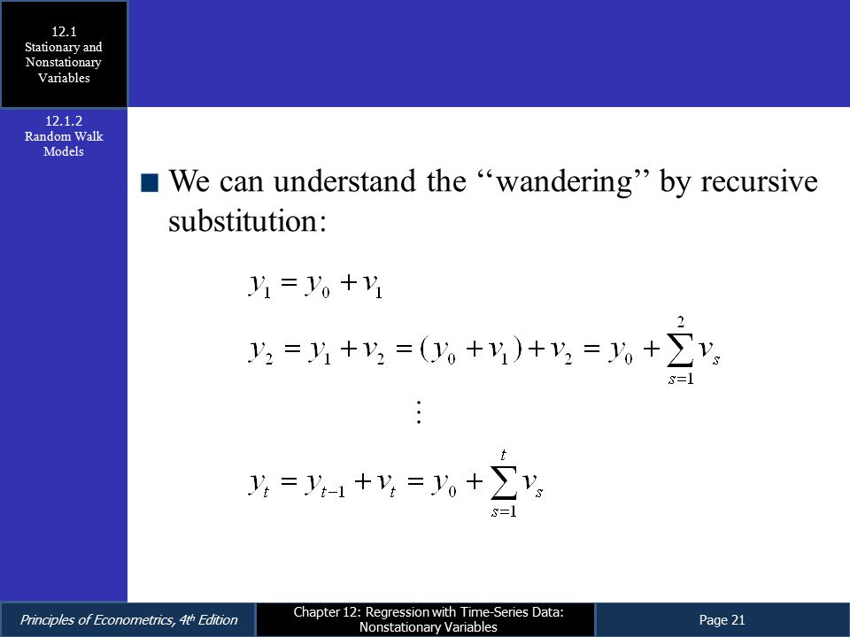 Principles of Econometrics, 4t h EditionPage 21 Chapter 12: Regression with Time-Series Data: Nonstationary Variables We can understand the ''wanderin