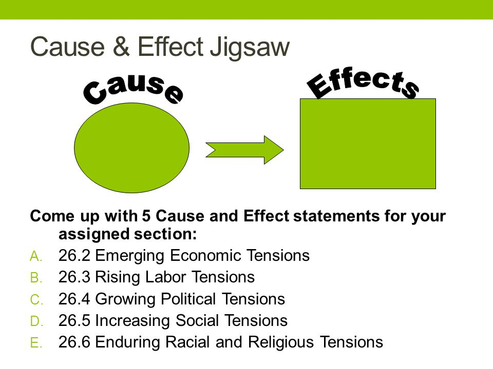 Cause & Effect Jigsaw Come up with 5 Cause and Effect statements for your assigned section: A.