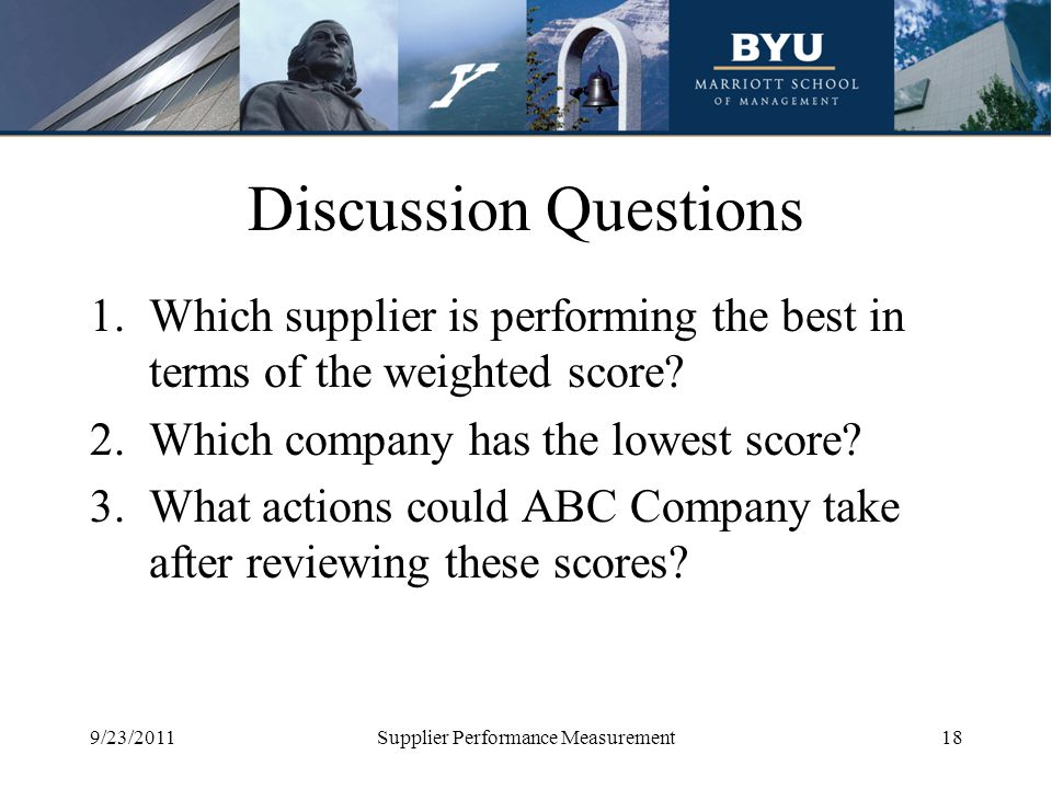 Discussion Questions 1.Which supplier is performing the best in terms of the weighted score? 2.Which company has the lowest score? 3.What actions coul