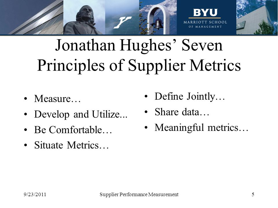 Jonathan Hughes' Seven Principles of Supplier Metrics Measure… Develop and Utilize... Be Comfortable… Situate Metrics… Define Jointly… Share data… Mea