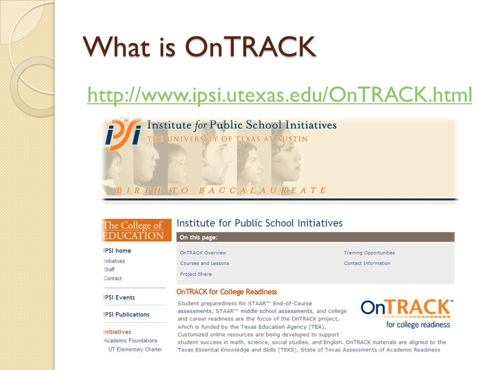 What is OnTRACK http://www.ipsi.utexas.edu/OnTRACK.html